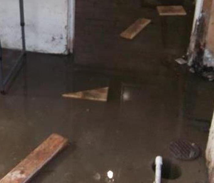 flotsam and murky water in a flooded basement