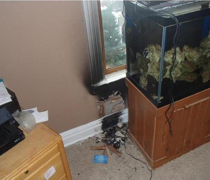 burned black wall and trim by aquarium