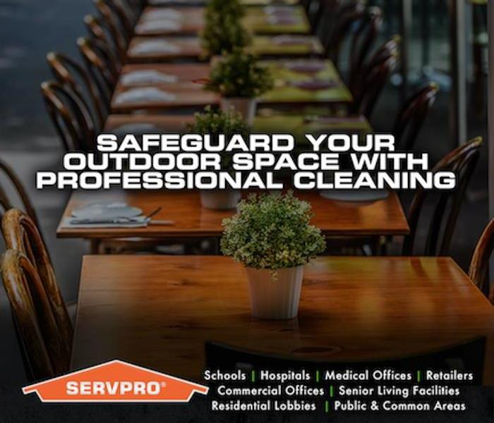 "Wood tables lined up with ""Safeguard your outdoor space with professional cleaning"" written in white"